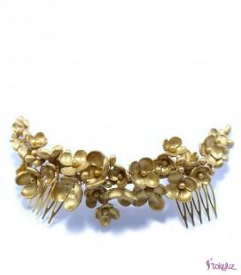Tocado tiara novia flores porcelana dorada