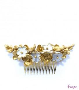 Tocado tiara novia flores porcelana cuero piel dorado
