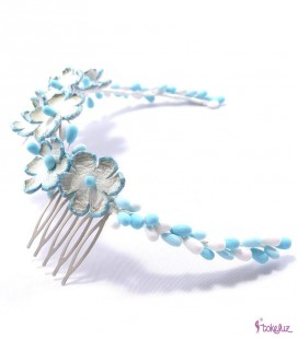 Tocado tiara corona flores novia pistilos porcelana cuero piel