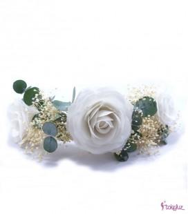 Tocado tiara corona flores preservadas seda