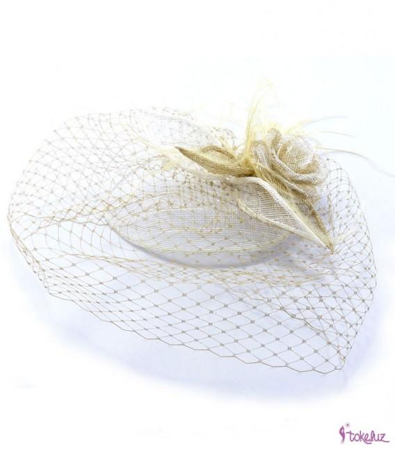 Tocado novia velo flor sinamay beige dorado