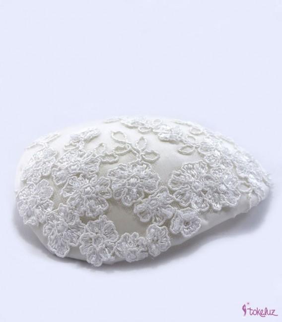 Tocado novia encaje seda
