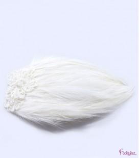 Tocado novia encaje plumas