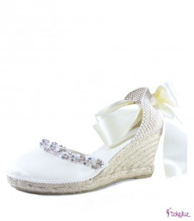 Alpargatas joya novia seda natural cristal