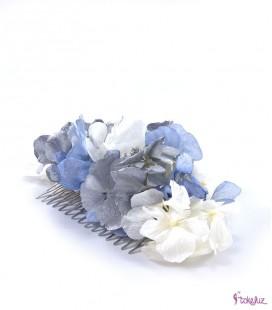 Peineta de hortensias preservadas plata