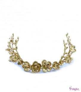 Tocado tiara corona flores porcelana novia