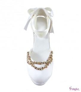 Alpargatas joya para novia de seda y cristales