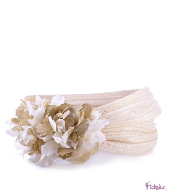 Banda turbante hortensias flores preservadas